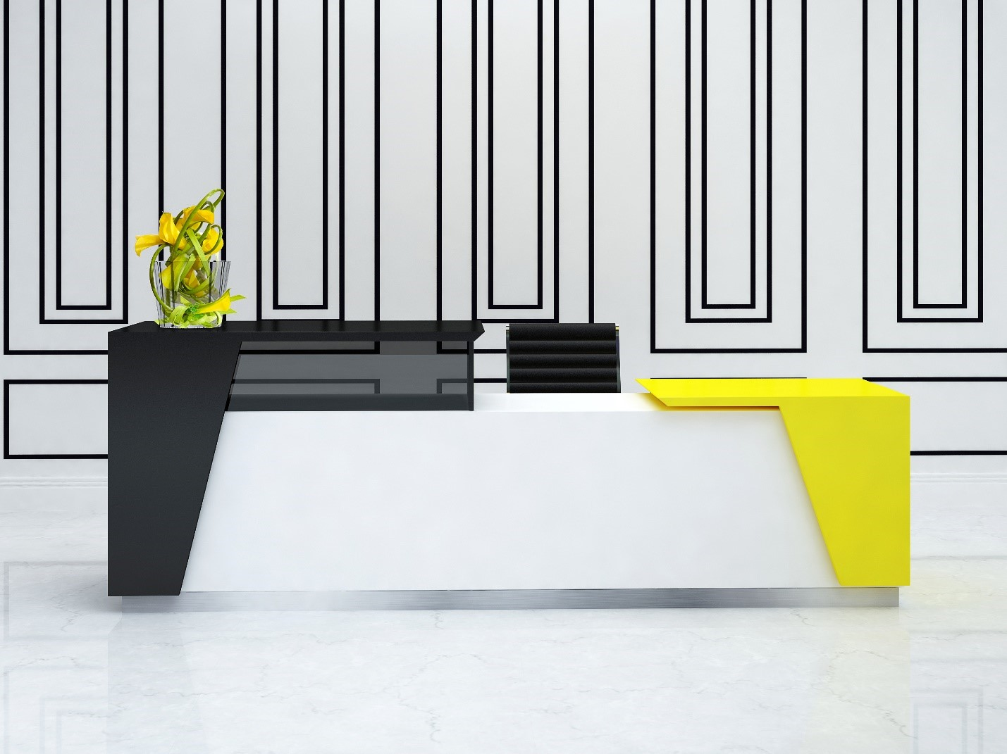 Modern reception desk with a pop of color
