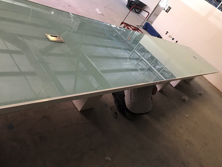 Hampton Modern Conference Table with glass top