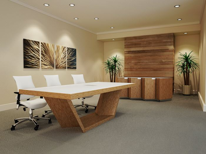 Durham modern conference table 90 degree office concepts for Modern real estate office design