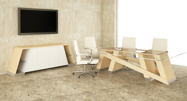 Baltoro Modern Conference Table with glass top in Natural Maple room scene