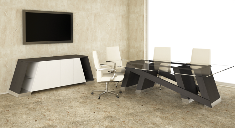 ... Baltoro Modern Conference Table With Glass Top In Colombian Espresso  Room Scene ...