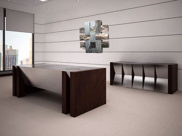 Quincy Modern Executive Desk and Credenza