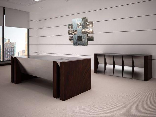 Quincy Modern Executive Desk and Credenza