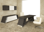 Baltoro Modern Executive Desk & Credenza with solid top in Columbia espresso