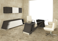 Baltoro Modern Executive Desk & Credenza with built-in communication