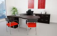 Europa modern executive desk scene - espresso