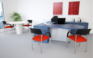 Europa modern executive desk scene - blue denim