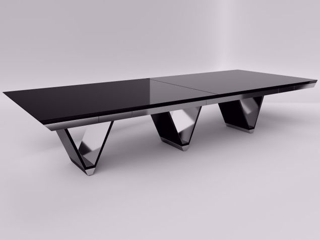 Prato Black Glass Conference Table