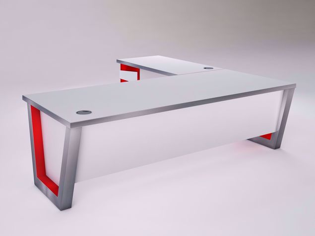 Windsor Modern Executive Desk - white with red accents